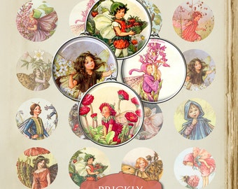 "Vintage Fairies Digital Collage Sheet, Jewelry Making, Circles, 1.5"" Crafts, Digital Downloads"