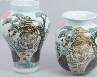 1 Set- (2) Large Porcelain Vases with Hand-Painted Tigers, Qianjiang Style