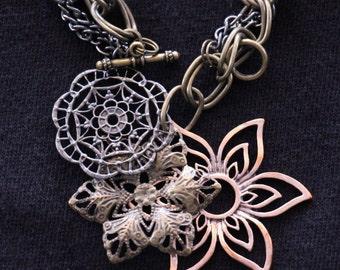 Layered Flower Multi-Metal Bracelet