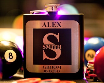 Personalized Black Groomsman Flask with Letter Design, Custom Engraved Flask, Wedding Gift for Groomsmen, Bachelor Party, Monogram