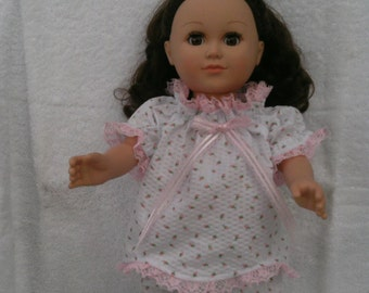 American Girl or 18 Inch Doll Clothes / Seersucker Small Strawberry Pink/White Print Baby Doll Pajamas