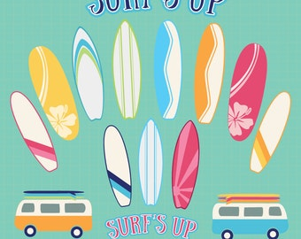 "Surfboard Clipart: Instant download for COMMERCIAL or personal use; surf boards, vans, ""surf's up"" scalable text, vector graphics"
