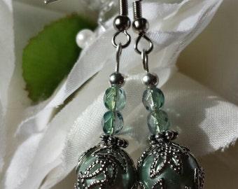 Mint Green Globe Earrings