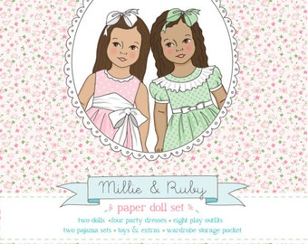 Millie & Ruby Printable Paper Dolls - PDF instant download - medium skin and straight hair , dark skin and curly hair, COLORABLE CLOTHES