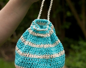 Striped drawstring crochet pouch / Large dice bag