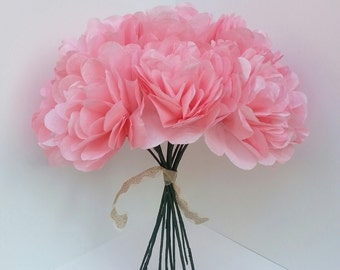Individual Hot Pink Peony Paper Flowers--Weddings,Paper Flower Bouquet,Bridesmaid Bouquet,Bridal- Baby Shower,Centerpiece- Flat Style