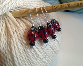 Four Little Lady Bugs Knitting Stitch Markers Set of 4