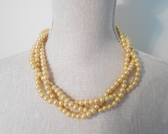 Gold multi strand plaited chunky beads pearl necklace, summer jewelry, Unique for wedding, Bridesmaid Gifts, daughter, Valentine's day