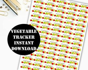 Vegetable Tracker Printable Planner Stickers / Erin Condren Life Planner / Kikki / Plum Paper Planner / Midori Insert / Planner Insert 00008