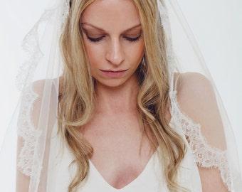 FABRIC SAMPLE of this Bridal Veil, Waltz Length Veil, French Chantilly Lace, Mantilla Veil, Lace Veil