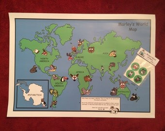 Marley's World A2 World Map Poster with Stickers