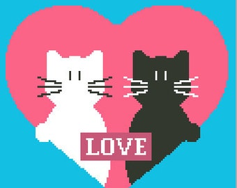 Moderm cross stitch pattern CATS by Fen's Stitch