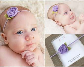 Lilac Baby Headband or Alligator Clip with Felt Rolled Rose for Newborn Baby Toddler Child Flower Girl