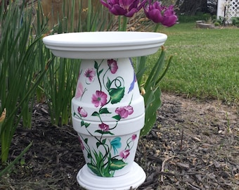 Hand painted Bird Bath