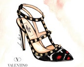 Valentino Rockstud Shoe Watercolor Fashion Illustration Wall Art Signed Print Limited Edition 10 left 3 sizes only Couture Art
