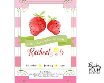 Strawberry Birthday Invitation / Tutti Fruity Modern Invite / Farmer's Market Invite / Pink Stripe Invite / Picnic Invite / *Digital file*
