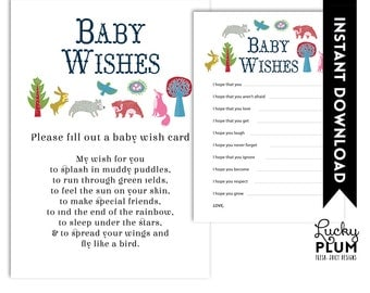 Woodland Baby Shower Baby Wishes / Forest Baby Wishes / Fox Bear Bird Bird Baby Wishes / Animal Baby Wishes / DIY Printable /  Digital