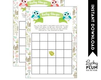 Owl Twin Baby Bingo / Woodland Baby Bingo / Forest Animal Baby Bingo / DIY Printable /  *Digital file*