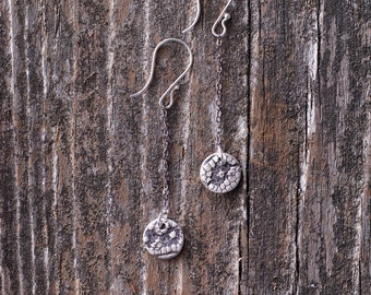 Fine Silver Metal Clay Earrings with 14K Gold filled.  Lace impression - ES113