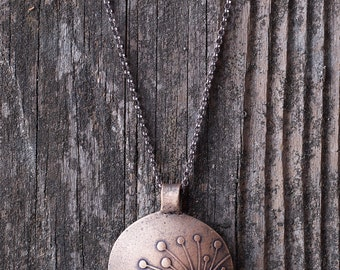 Bronze Metal Clay Pendant - Sunburst - NB178