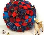 Hand Made Chrysanthemum Cushion in Blue & Crimson