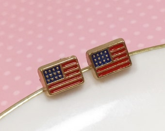 American Flag Studs, Independence Day Studs, 4th of July Holiday Earrings, Red Blue Gold, Little Metal Studs, KreatedByKelly