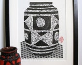 RELIEF PRINT - Carstens Ankara Vase -Mid Century Modern Print Collograph Print 9x13 - Ready to Ship