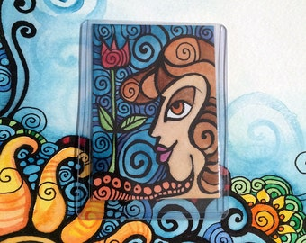 Original Art - Girl with Flower - ATC / ACEO / Artist Trading Card / Watercolor Painting / Journal Series