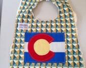 Baby Boy's Bib in blue and mustard with Colorado Fl...