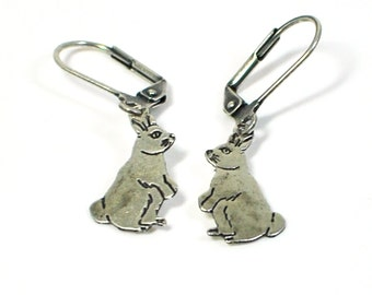 Silver Rabbit Earrings Fred and Ted - Bunny Earrings - Rabbit Jewelry - Bunny Jewelry - Pet Rabbit - Animal Jewelry - Gift for Daughter