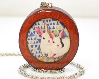 Wood Rabbit Jewelry Bunny Necklace Kewpie and Dolly - Rabbit Pendant - Bunny Jewelry - Brown Bunny
