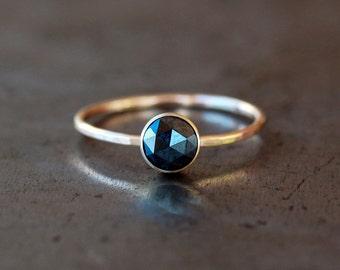 Rose Cut Black Diamond Ring, 14k Yellow Gold Band, Black Diamond Engagement Ring, Eco Friendly Gold, Conflict Free Handmade Jewelry
