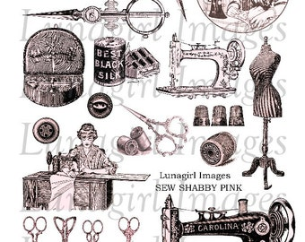 SEW Shabby Pink digital collage sheet DOWNLOAD vintage images Victorian sewing machine notions thimble dressform printables antique scissors