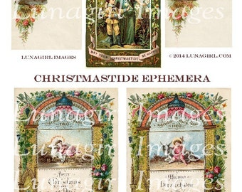 CHRISTMASTIDE EPHEMERA digital collage sheet DOWNLOAD Victorian paper antique book religious holidays vintage images altered art angels