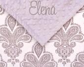 Baby Blanket - Personalized Baby Girl Blanket , Personalized Royalty Damask Minky Baby Blanket
