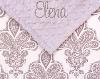 Baby Blanket - Personalized Baby Girl Blanket , Personalized Royalty Damask Minky Baby Blanket