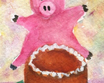 ACEO Original Pig with Cake, Happy pig jumping joy about chocolate cake, pig watercolor painting Small pig Art card, miniature painting