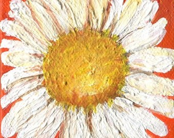 Shasta Daisy Mini Painting, orange mini canvas, Original acrylic painting Daisy art, easel, Daisies decor, miniature painting, mini canvas