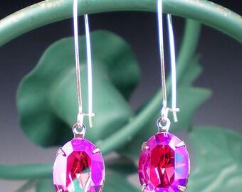 Rhinestone Earrings Fuchsia Glacier Blue Swarovski Drop Earrings Pink Violet Raspberry Wedding Bridesmaid Jewelry