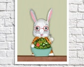 White Rabbit Art Print Dining Room Decor Pictures For Green Kitchen Illustration Bunny Drawing Kids Wall Art Whimsical Animal Artwork Poster