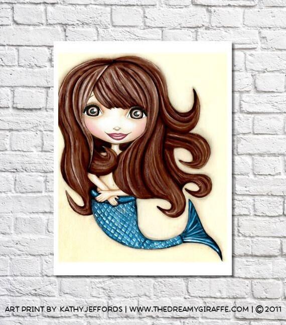 Mermaid Print Mermaid Artwork Ocean Themed Decor Mermaid Wall Decor Kids Mermaid Art For Girls Mermaid Illustration Blue Mermaid Nursery Art