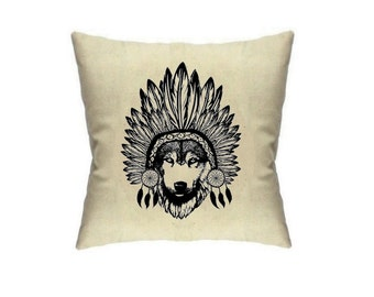 Wolf Pillow Cover 18 x 18 Aztec Print Tribal Throw Pillows Printed Housewares Dream Catcher Cushion Covers Pillow Cover Home Decor
