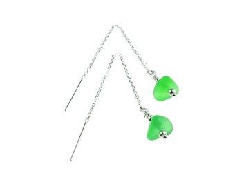sea glass earrings, sprite green, sterling silver, threader earrings, seaglass jewelry, dangle earrings, marine, ecofriendly jewellery