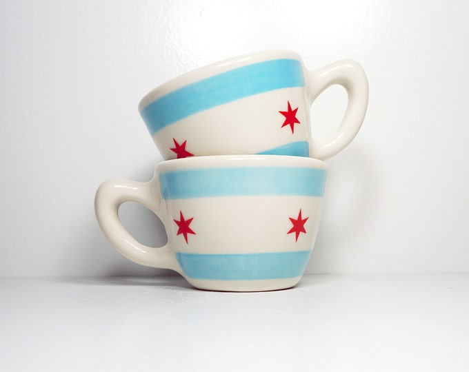 Featured listing image: one (1) super-awesome chicago flag 12oz cup/mug. Made to Order.