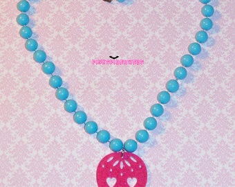 Blue and Pink Glitter Sugar Skull Necklace