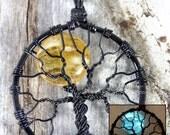 Glow in the Dark Full Moon Tree of Life Pendant Amber Moon Glowing Jewelry Glow Necklace Blue Moon Wire Wrapped Black Light UV Clubwear