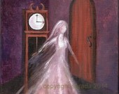 Original OIL painting 8 x 10 inch gothic GHOST art, phantom woman, clock, ethereal surreal dream art, Victorian fantasy, purple/violet