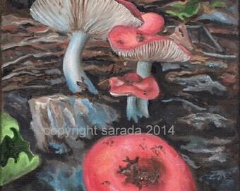 Original OIL painting 8 x 10 red mushroom forest nature woodland art fantasy decor earth tones trees fairy land