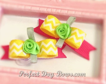 Puppy Dog Bows, Yellow Dog Bow, Chevron Grooming Bow
