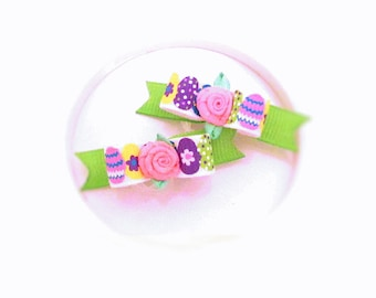 Colorful Easter Eggs Dog Bow Pair for Maltese and Puppies